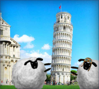 Marco and Paolo getting in some Sheep Thrills in Pisa