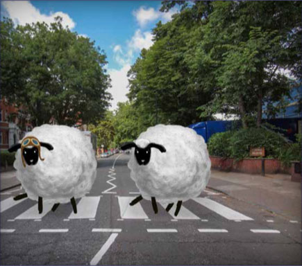 Marco Starr and Paolo McCartsheep getting in some Sheep Thrills on Abbey Road
