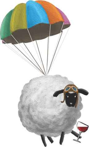 Marco the Sheep skydiving while enjoying a glass of Sheep Thrills red wine