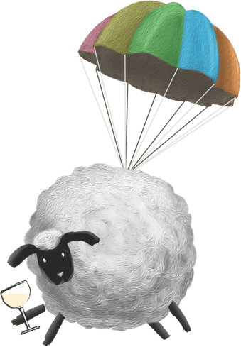 Paolo the Sheep skydiving while enjoying a glass of Sheep Thrills white wine
