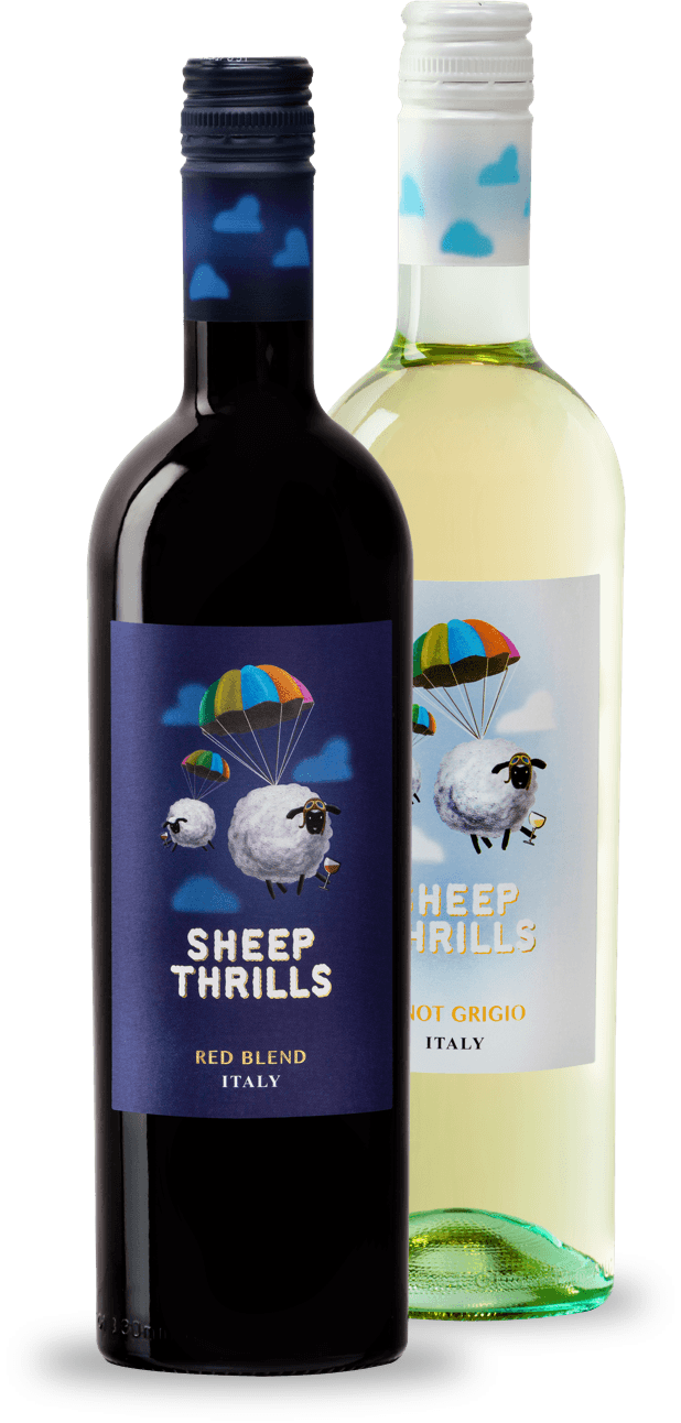 A bottle of Sheep Thrills red wine along side a bottle of Sheep Thrills Pinot Grigio white wine.